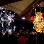 Fruit sellers candelora party with fireworks at MAAS before the Saint Agatha festival in Catania.