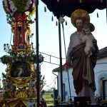 Candelora of the Rinoti next to the San Giuseppe statue in San Giuseppe la Rena before the Saint Agatha festival in Catania.