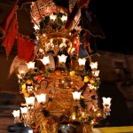 Fruitsellers candelora in Via Plebiscito on the 4th February during the Saint Agatha festival in Catania.