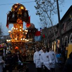 The candeloras and devotees are ready for the procession at sunrise of the 4th February during the Saint Agatha festival in Catania. Butchers candelora.