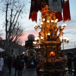 The candeloras are ready for the procession at sunrise of the 4th February during the Saint Agatha festival in Catania.