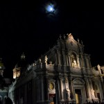 Cathedral in Catania in the night. It's the 12th February, the very end of the Saint Agatha festival.