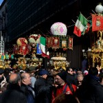 Candeloras on the 3rd February in Via Etnea in Catania, during the Saint Agatha festival.