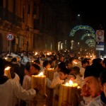 Fireway on the 6th February during the Saint Agatha festival in Catania. The devotees are carrying huge candles for they vows