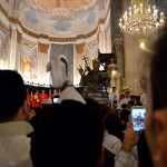 The Saint is leaving the cathedral in Catania at the beginning of the Saint Agatha festival on the 4th February