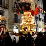 La candelora dei pescivendoli in via Etnea durante la festa di Sant'Agata a Catania