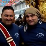I portatori della candelora dei pescivendoli 2014 durante la festa al MAAS prima dell'inizio della festa di Sant'Agata