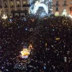 La processione durante la festa di sant'Agata vista dall'alto il giorno 5 febbraio