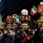 Candelore in Via Etnea il 3 febbraio durante la festa di Sant'Agata a Catnia